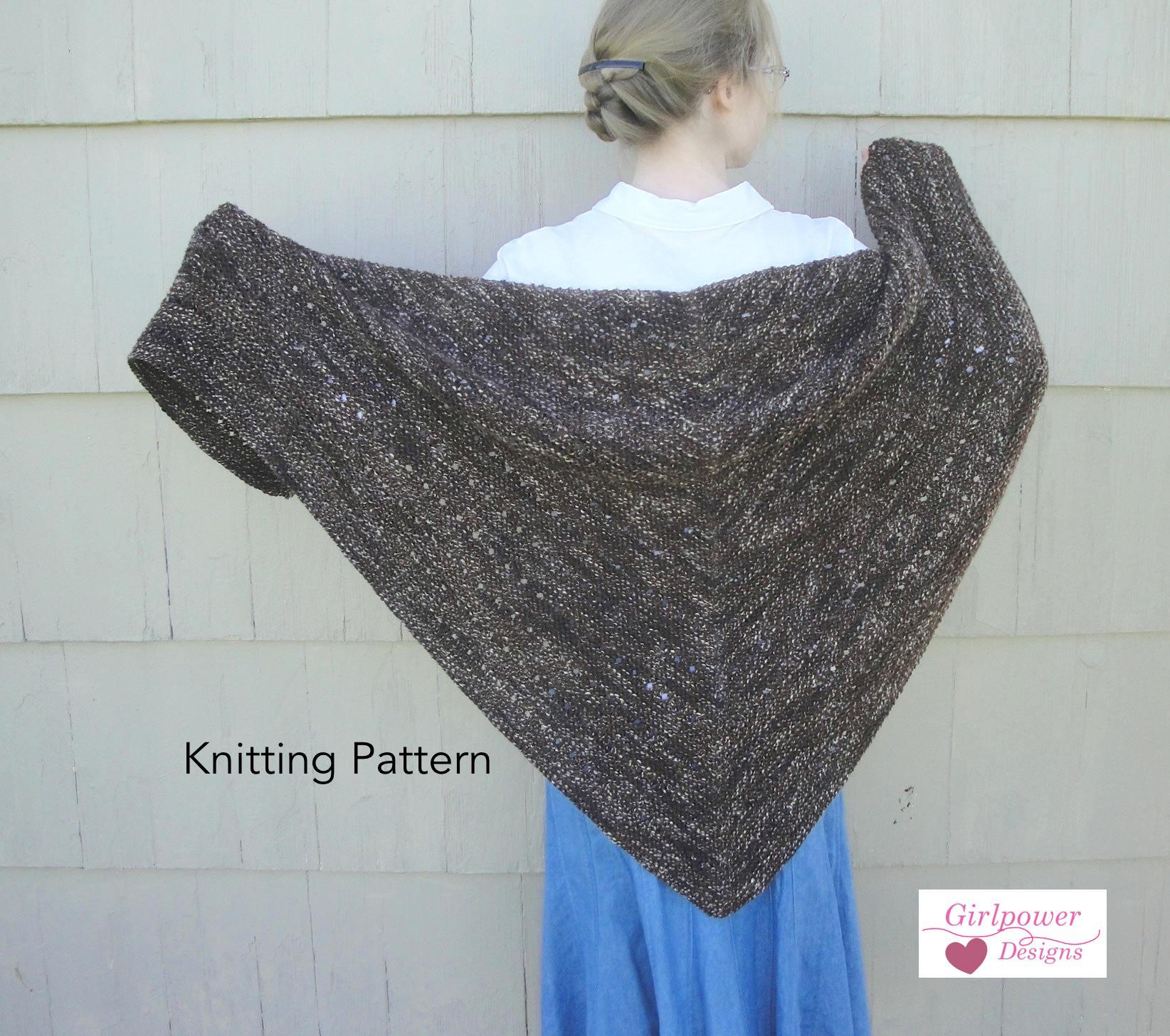 Espresso Shawl Knitting Pattern, Easy Knit, Garter Stitch Eyelets ...