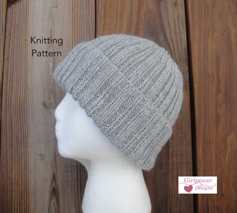 4af6d5a3d1e2 Ribbed Hat Knitting Pattern Easy Knit Watch Cap Beanie Toque