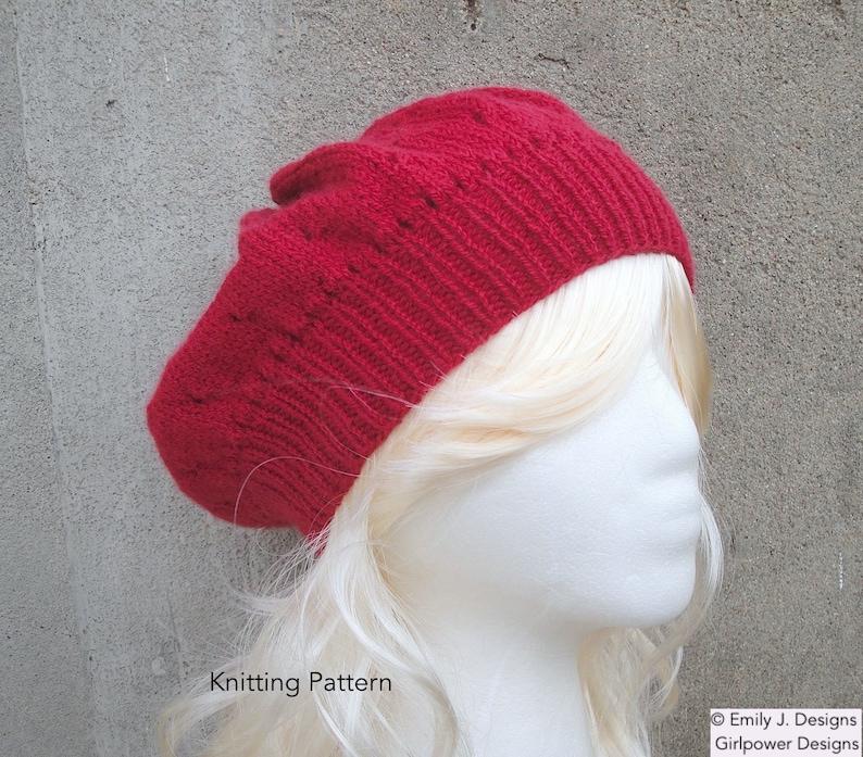 Slouch Hat Knitting Pattern, Sport Weight Yarn, Eyelet Pattern, Tam Hat,  Slouchy Hat, Beret Hat, Women Teen Girls