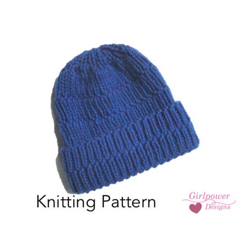 6afb9832fe6 Chunky Ribbed Hat Knitting Pattern Easy Knit Beanie Hat Cap