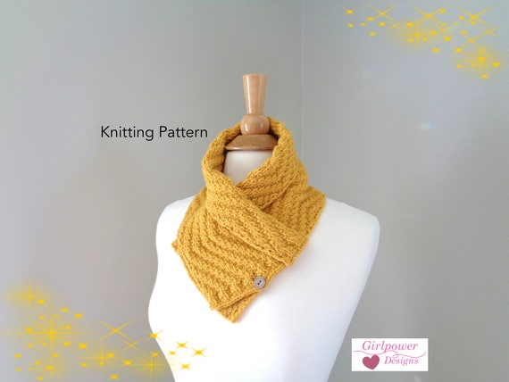 Button Neck Scarf Knitting Pattern Shawl Collar Neck Warmer Etsy