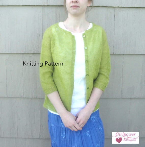 Basic Cardigan Sweater Knitting Pattern Mohair Lace Yarn Etsy