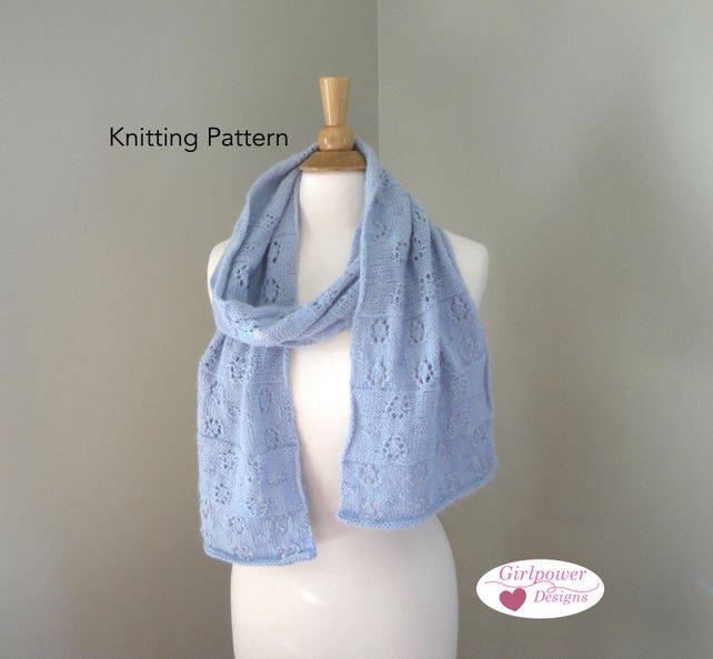 Lace Snowflake Scarf Knit Pattern Sport Weight Yarn Lacy Etsy