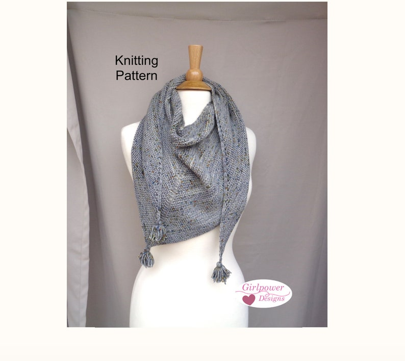 Triangle Scarf With Tassels Free Knitting Pattern Easy Knit Etsy
