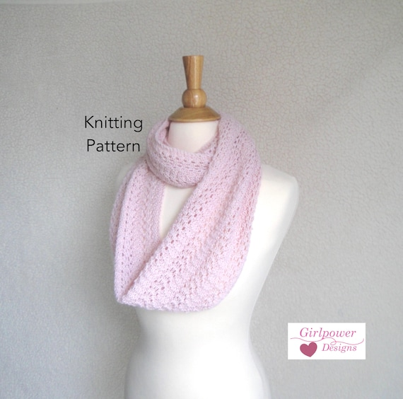 Featherweight Infinity Scarf Knitting Pattern Easy Lace Etsy