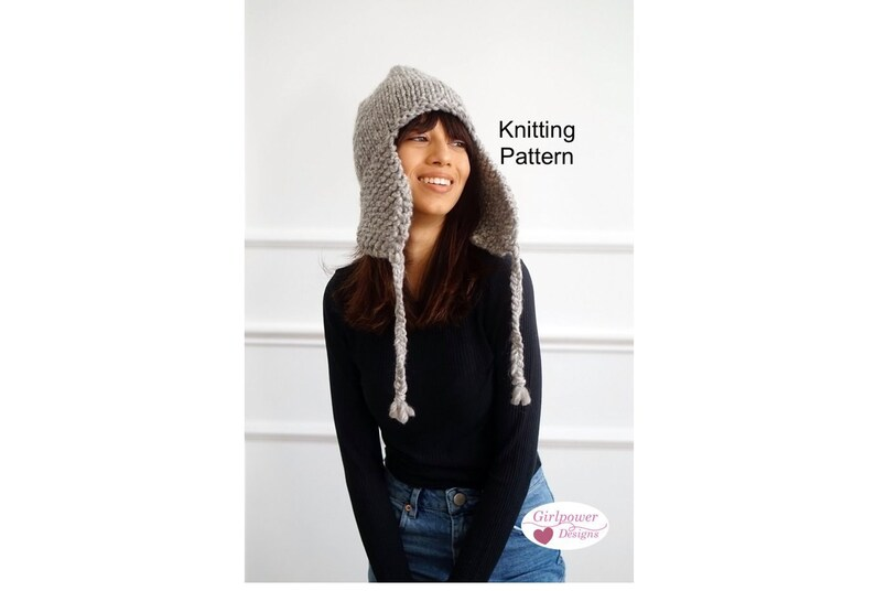 5a6c0560294 Hat with Earflaps Knitting Pattern Bulky Yarn Quick Easy