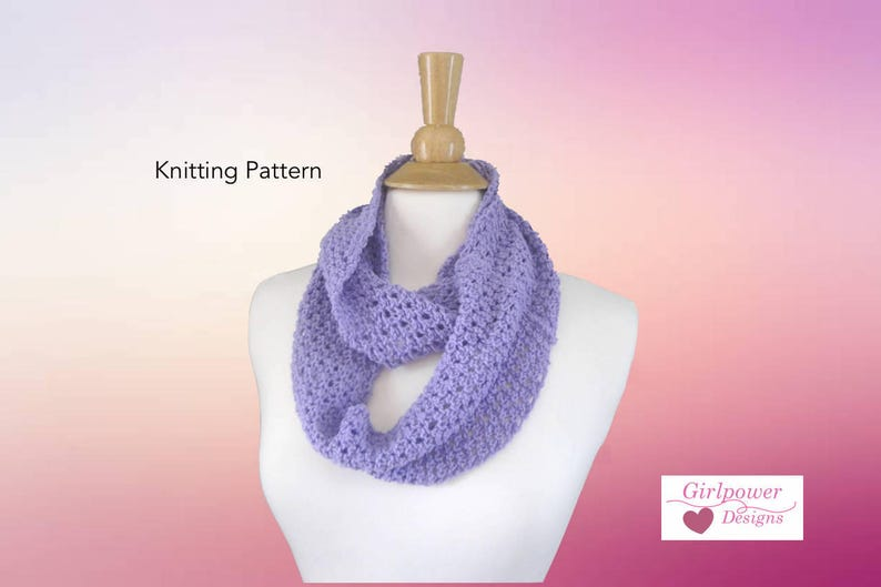 Knitting Pattern Easy Lace Infinity Scarf Sport Dk Yarn Etsy
