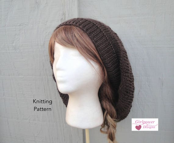 Maxi Slouch Hat Knitting Pattern Slouchy Beanie Beret Tam Etsy