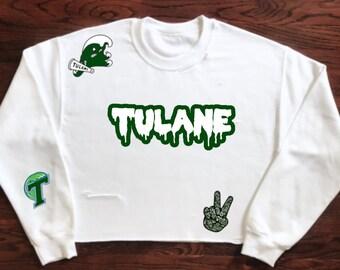 871e566d79f Tulane Green Wave Crewneck Sweatshirt   Tailgate Clothing   Game Day    Custom   University Apparel