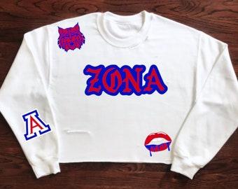 aa18b53b81f University of Arizona Wildcats ZONA Crewneck Sweatshirt   Tailgate Clothing    Game Day   Custom   University Apparel