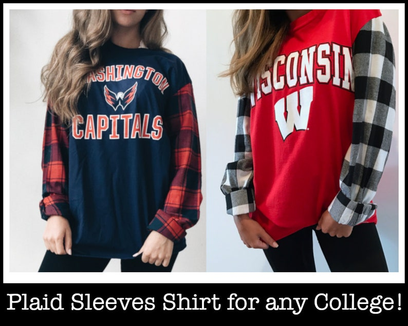 Custom College Plaid Sleeves Shirt / Tailgate Clothing / Game Day / Custom  Tee / College Clothes / University Apparel