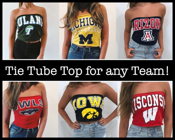 Custom College Tie Tube Top / Tailgate Clothing / Game Day / Custom Tee /  College Clothes / University Apparel