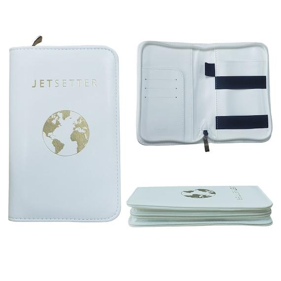 Flower Bank Glass Vase Leather Passport Holder Cover Case Travel One Pocket