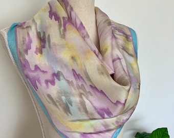 1317de5be1dc2 Vintage Pastel Purple, Yellow, Blue, White & Gray 100% Silk Square Scarf by  Echo, Watercolor Print Scarf Made in Japan, Retro Hair Accessory