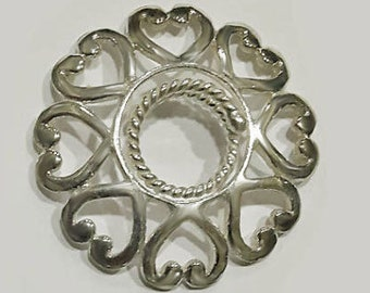 Non Piercing Nipple Shields - Any woman can wear this jewelry - Hand Made in Solid Silver - 8 love hearts surround adjustable nipple rings.