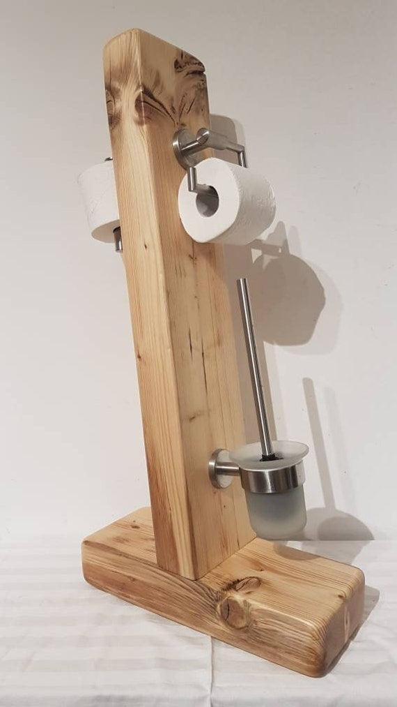 Rustic Toilet Stand Wood Handmade Unique Toilet Paper Holder Etsy