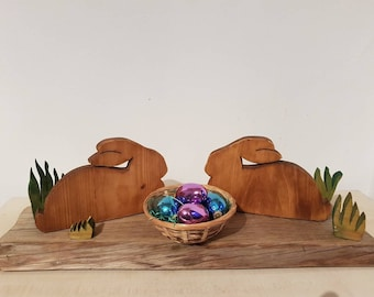 Wooden Easter bunny Big Easter decoration Easter Board with bunny decoration handmade unique