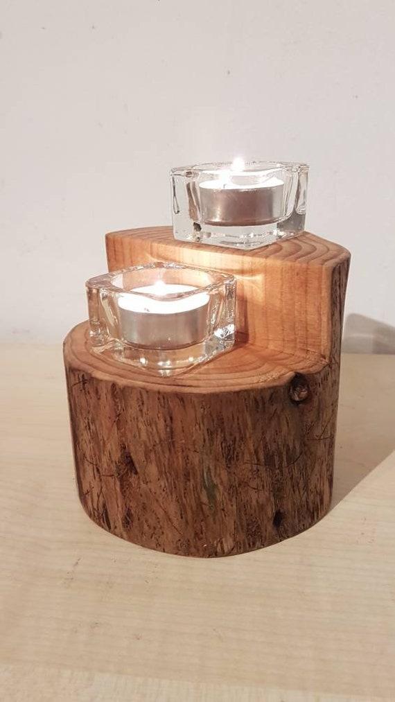 Kerzenstander Teelichthalter Esche Deko Holz Tischdeko Etsy