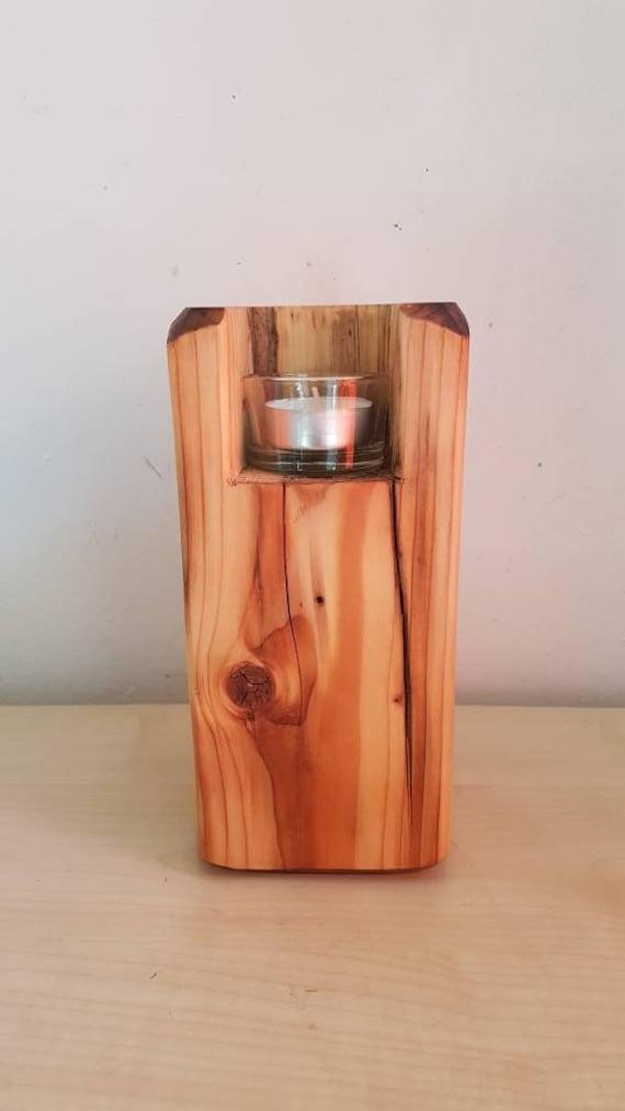 Rustikaler Kerzenstander Teelichthalter Alte Balken Deko Holz Etsy