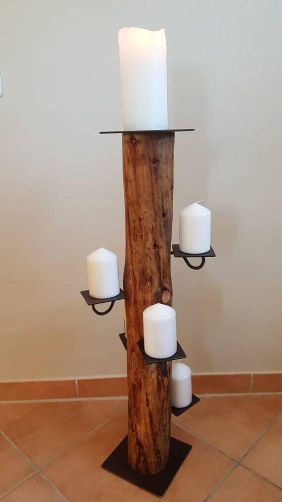 Großer Kerzenständer Für Stumpenkerzen Baumstamm Zeder Holz Handarbeit Unikat