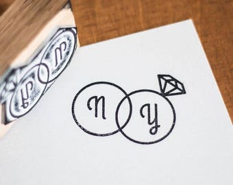 "Custom Stamp Kit ""Diamond"" + ink + pad"
