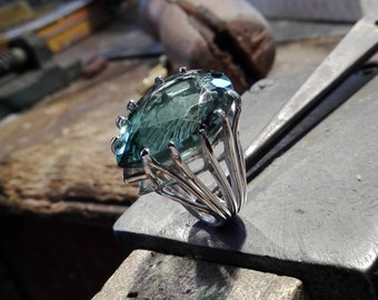 Green amethyst on a sterling silver ring