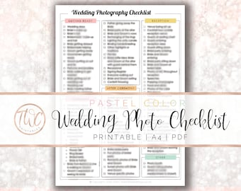 wedding photo checklist pastel colors printable checklist photography wedding to do list wedding photography photo list wedding