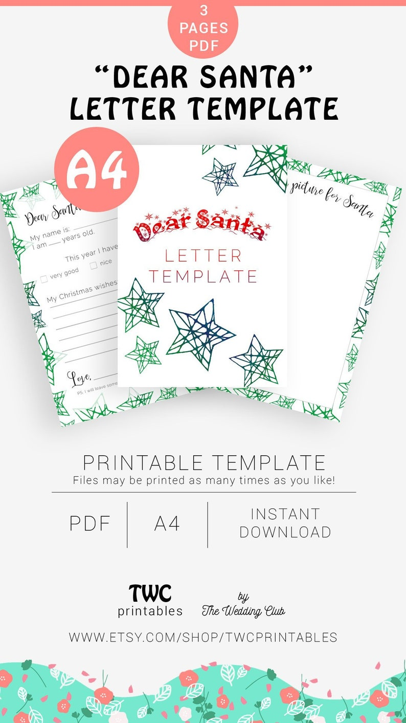 image relating to Dear Santa Printable titled Pricey Santa printable letter template letter in the direction of Santa, youngsters Xmas present, Xmas letter