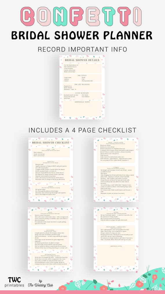 photo relating to Bridal Shower Checklist Printable named Confetti Bridal Shower Planner - printable bridal shower sheets for your binder!