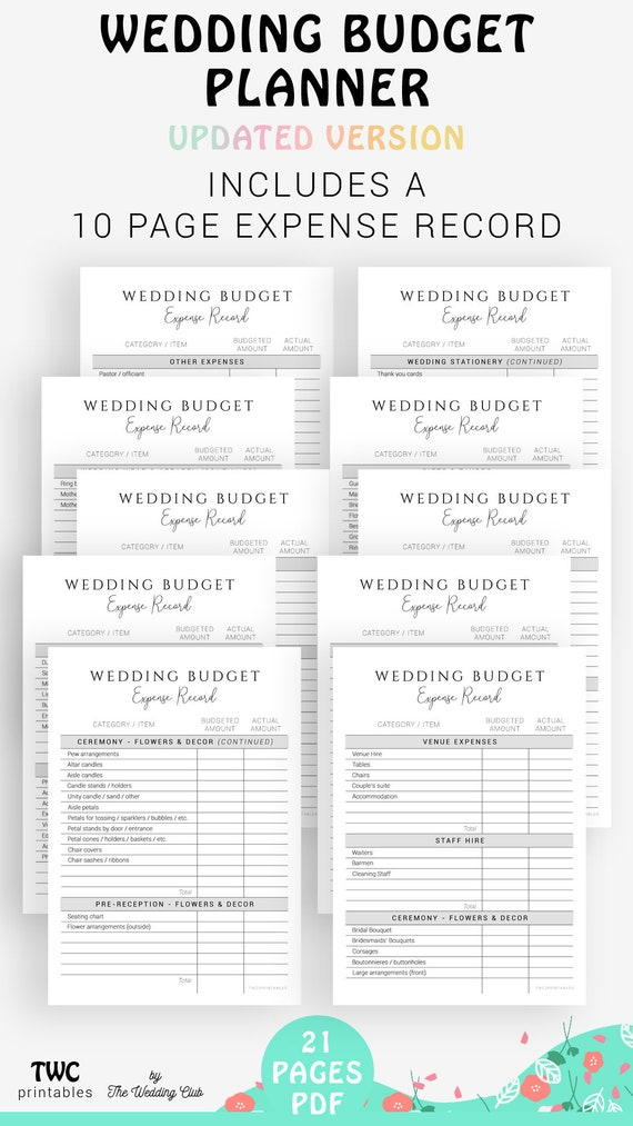 Wedding Budget Planner And Tracker Updated Version Plan Your Wedding Budget From A Z With This Printable Budget Planner