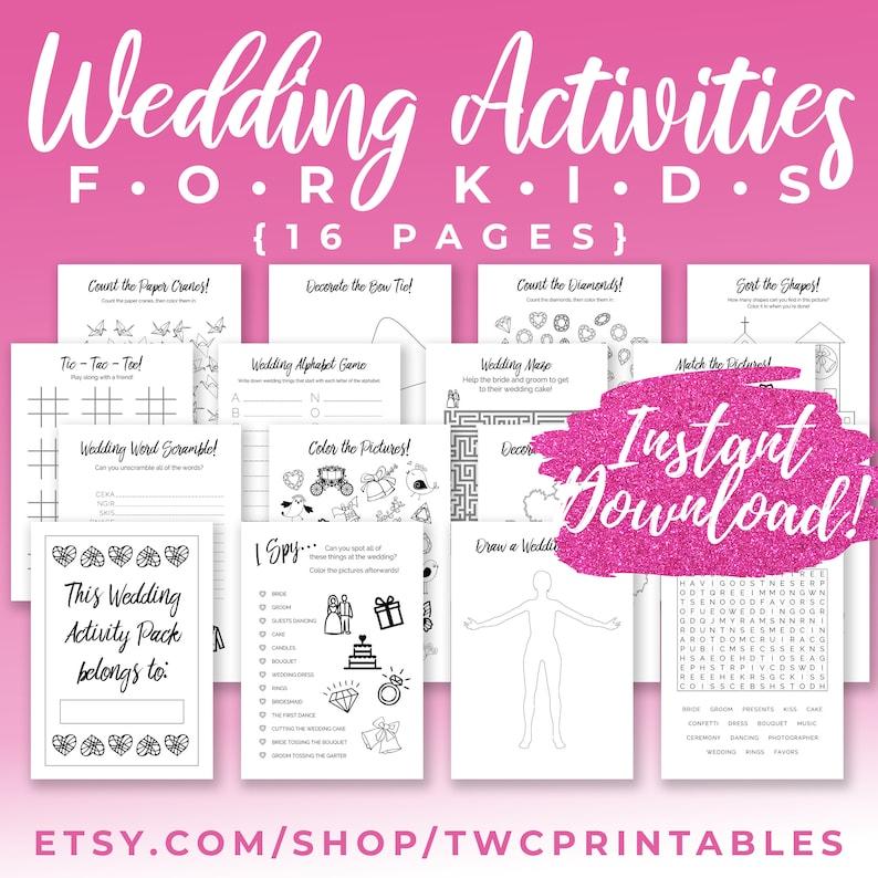 Kids Wedding Activities Printable Pack activity book wedding image 0