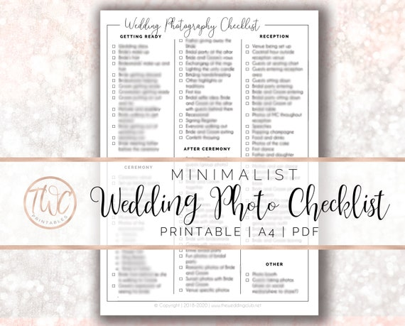 Wedding Photo Checklist Minimalist Wedding Photography
