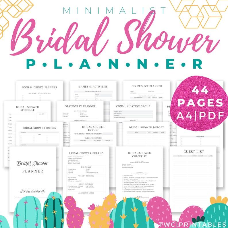 Bridal Shower Planner Minimalist bridal shower printables image 0