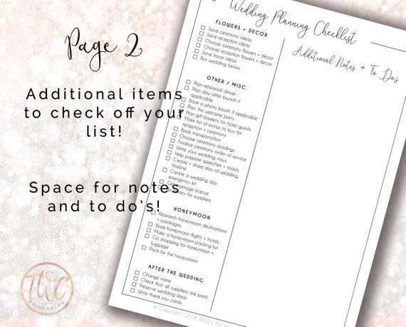 printable wedding checklist wedding planner ultimate etsy