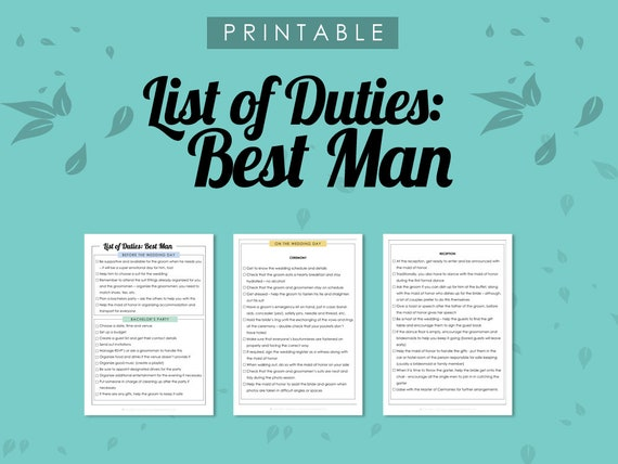 list of duties best man duties of the best man wedding etsy