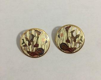Vintage Cloisonne Gold Oceanic Round Stud Earrings,  Fish And Shells Cloisonne Earrings, Woman's Oceanic Earrings (11 Grams)