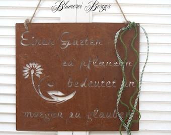 """Rusty Garden Sign """" A Garden... """""""