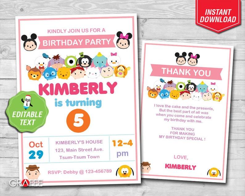 Tsum Invitation 5x7 EDITABLE Text Birthday