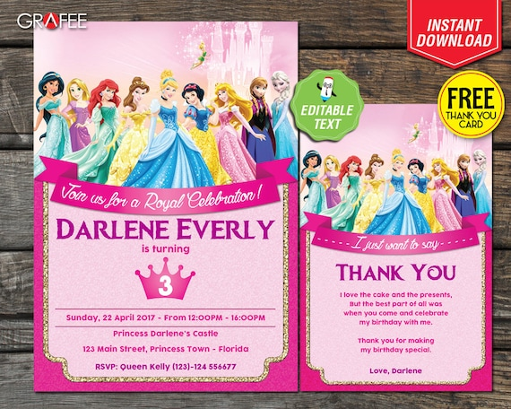 Disney Princess Birthday Invitation Card Party EDITABLE Text