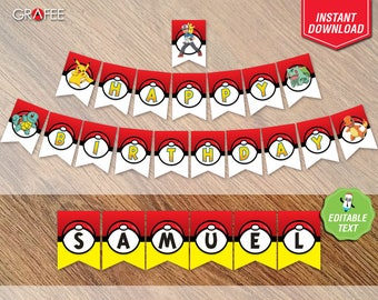 Pokemon Banner Pennants - Pokemon Party Banner - Pokemon Birthday Printable Instant Download - Pokemon Party Signs - Pokemon Bunting Flags