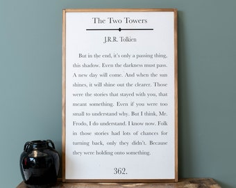 Book Page Sign | JRR Tolkien Quote | Tolkien Sign | Lord Of The Rings Picture | Framed Wood Signs | Signs for Home | Home Decor Sign