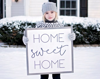 Home Sweet Home Sign | Home Sweet Home Wood Sign | Framed Home Sign | Living Room Wall Decor | Rustic Wood Signs| Framed Wood Signs