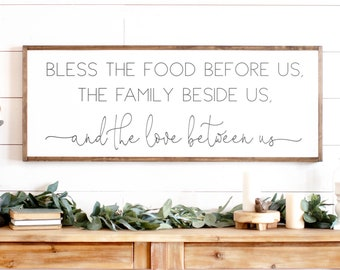 Bless The Food Before Us Wood Sign | Dining Room Signs | Dining Room Wall Decor | Kitchen Signs | Bless The Food Sign Wood | Signs for Home