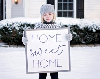 Home Sweet Home Sign | Home Sweet Home Wood Sign | Framed Home Sign | Living Room Wall Decor | Rustic Wood Signs