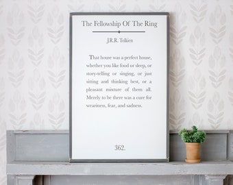 The Fellowship Of The Ring Quote | JRR Tolkien Quote Sign | Book Page Sign | Framed Signs | Signs for Home | Home Decor Sign
