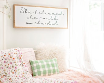 She Believed She Could So She Did Sign | Girls Room Wall Decor | Teenage  Girl Wall Decor | Teenager Signs