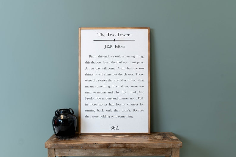 Book Page Sign  JRR Tolkien Quote  Tolkien Sign  Lord Of image 0