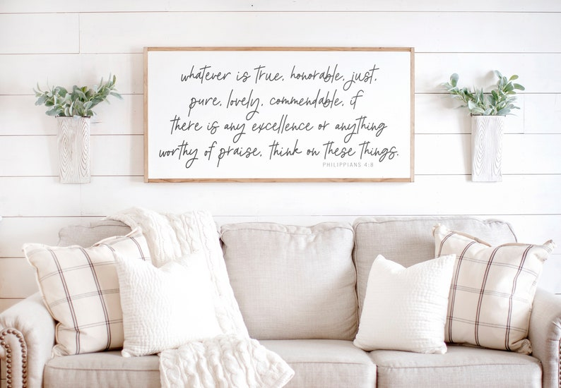 Scripture Sign  Christian Wall Decor  Whatever is True Sign image 2
