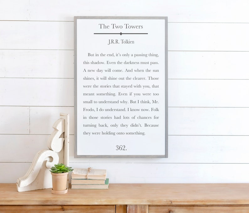 Tolkien Sign Framed Wood Signs Home Decor Sign Lord Of The Rings Picture JRR Tolkien Quote Signs for Home Book Page Sign