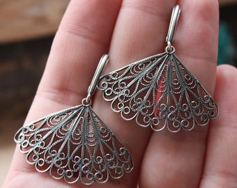 Boho sterling silver earrings, Filigree earrings, Lace earrings, Fan sterling silver earrings, Filigree lace earrings, Unusual gift for her
